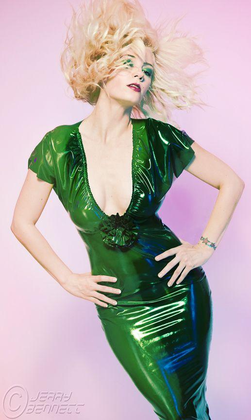 Green latex dress