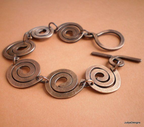 Statement copper bracelet artisan hammered coil by #dteam  JudysDesigns, $48.00