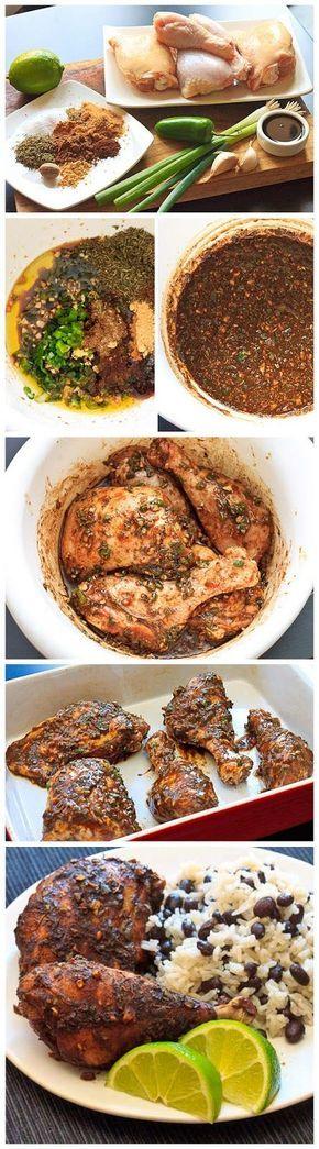Jamaican Jerk Chicken with Coconut Rice and Beans   DebbieNet.com  