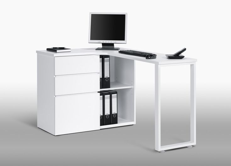 Perfekt Bureau Informatique Du0027angle Design Avec Rangement Blanc Lelia