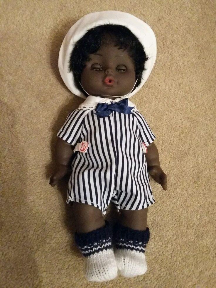 Vintage black anatomically correct baby boy doll. Unica