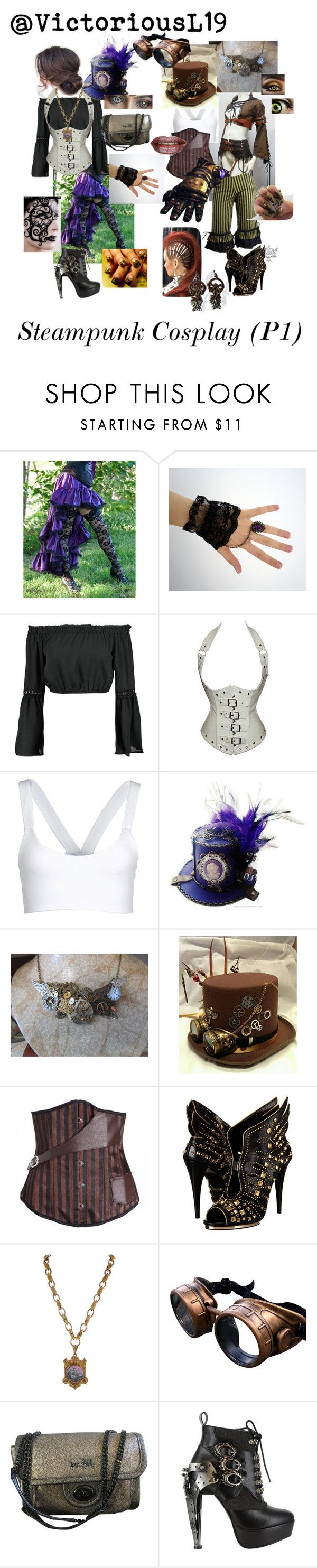 """""""Steampunk Cosplay (Black Butler OC) part one"""" by louella-brianna-beautiful-jackson ❤ liked on Polyvore featuring Boohoo, Port de Bras, Roberto Cavalli, Coach, HADES, OC, fanfiction, cosplay, steampunk and BlackButler"""