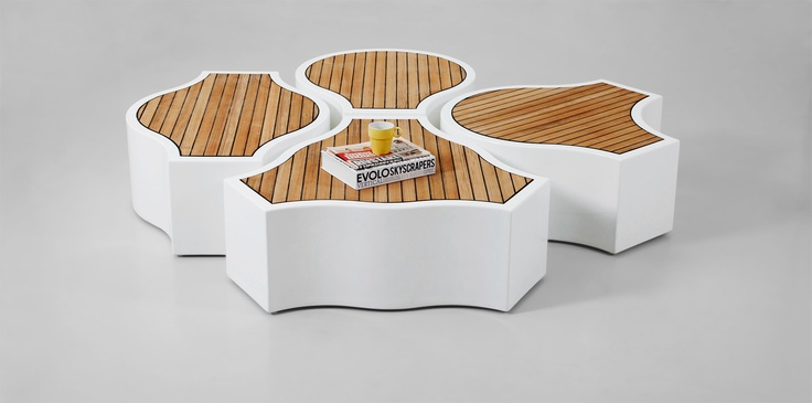 The Compound Yacht Benches   Fiberglass and teak.   Choose any combination that inspires you. And design your own space. www.jmdb.se