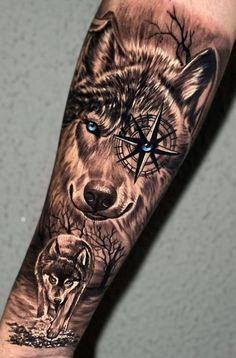 Half Sleeve Tattoos Animal, Half Sleeve Tattoos Forearm, Lion Forearm Tattoos, Wolf Tattoos Men, Lion Head Tattoos, Wolf Tattoo Sleeve, Hunting Tattoos, Tattoos Arm Mann, Best Sleeve Tattoos