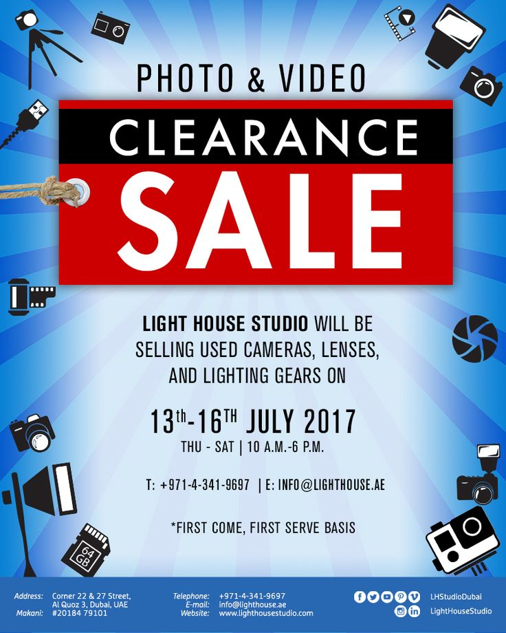 CLEARANCE SALE!  📸 Light House Studio are selling used equipment and gear at our Studio B from the 13th till the 16th of July 2017 from 11am till 6pm 💷 Location: Corner 22 & 27 Street, Al Quoz - Studio B  📍 For any enquiries, contact us on +971-4-3419697 or email: info@lighthouse.ae 📧 Equipment on sale will be posted on our website nearer the time.