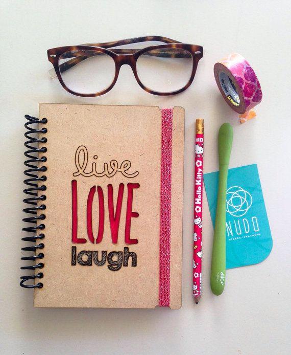 Vivir el amor risa, revista de regalo para ella, regalo para él, amor Notebook, vivo portátil de risa amor, vivir diario de amor risa, Sketchbook, diario