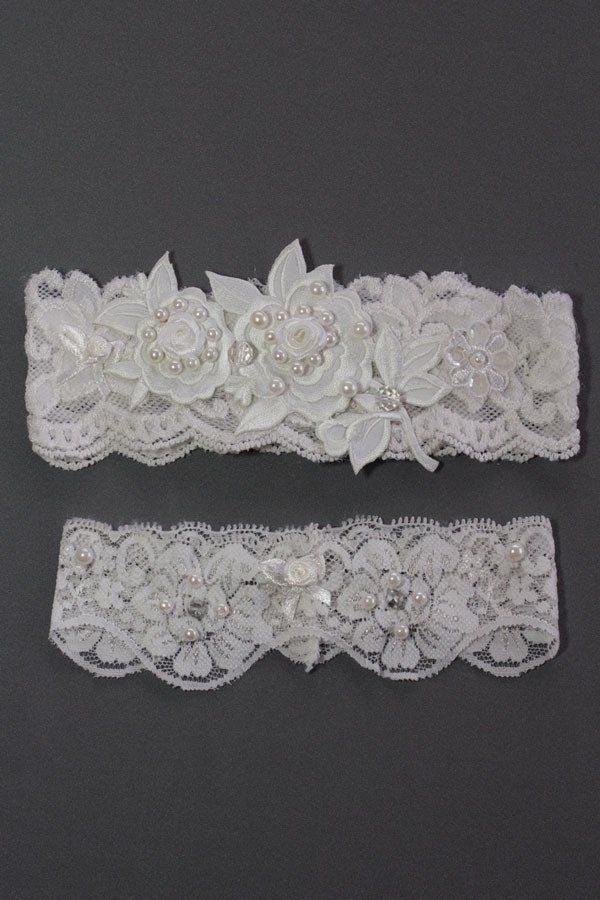 Wedding Garter Set Rose and Pearl Design