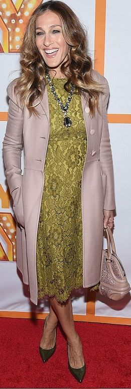 Sarah Jessica Parker: Dress – Dolce & Gabbana  Shoes – SJP Collection  Coat – Valentino  Jewelry – Fred Leighton  Purse – Alexander McQueen