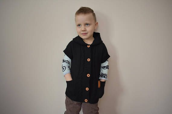 09213ebc7c00 WOOL ALPACA knitted warm vest with pockets for kid sleeveless ...