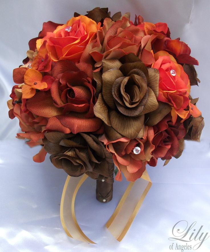 Silk Orange Fall Flowers: Oranje En Bruin On Pinterest