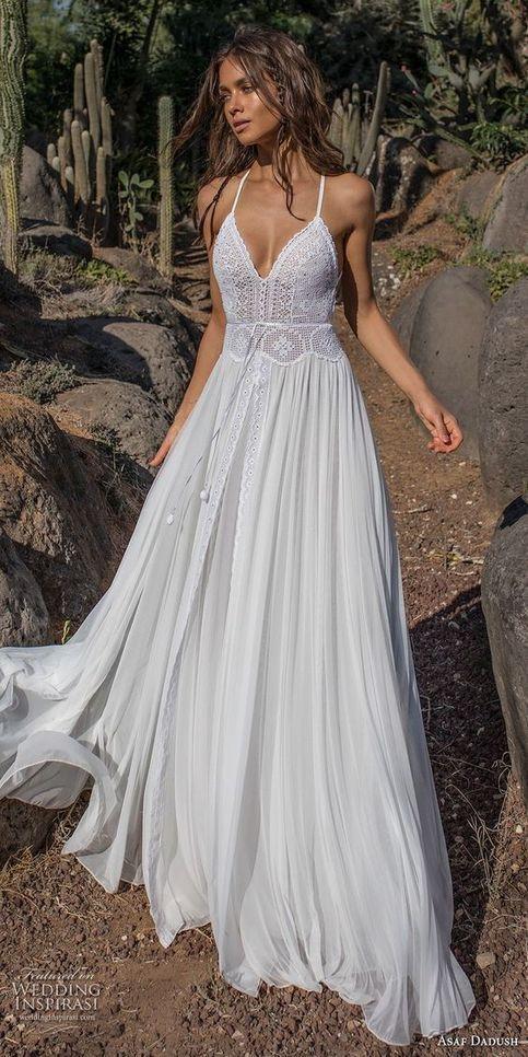 Custom Made White Flower Lace V Neck Long Summer Beach Prom Dress