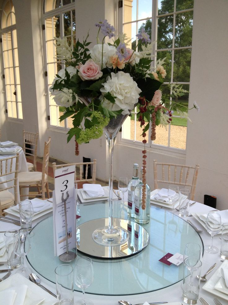 Martini vase design by www.wildorchidweddingflowers.co.uk Wrest Park Orangery