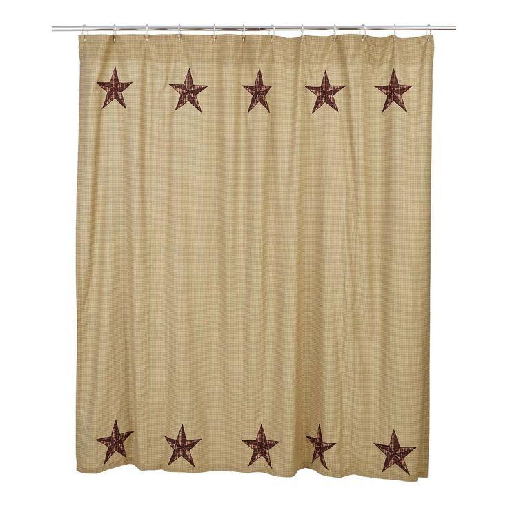 New primitive country bath quilt barn star shower curtain for Loft country shower curtains for the bathroom