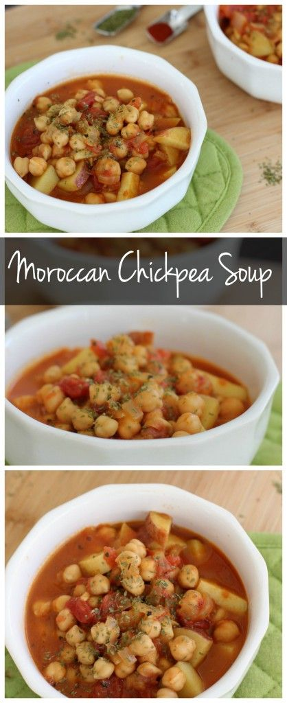 This Moroccan chickpea soup recipe is vegan & gluten free! It's a healthy soup that packed with flavor! It's a perfect make ahead meal or weeknight dinner!