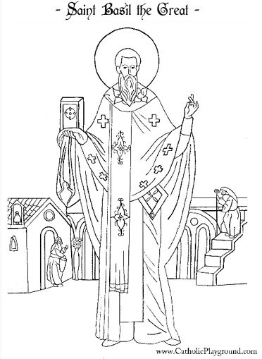 Saint Basil the Great coloring page for Catholic Children.  Feast day is January 2nd.