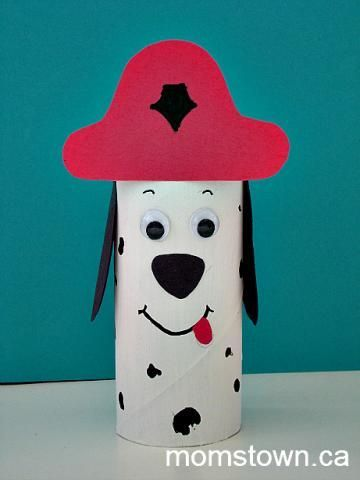 Make An Easy toilet paper roll Fire Dog Puppet. #craft