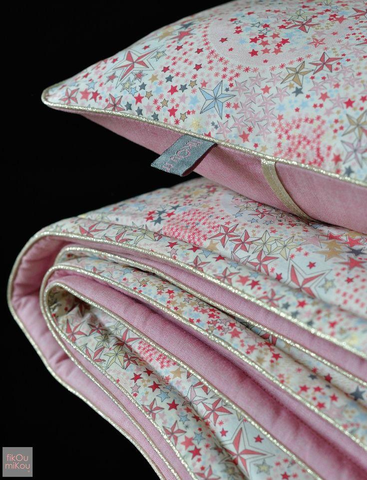 couverture et coussin en liberty Adelajda rose - fikOu miKou ® cushion et baby blanket