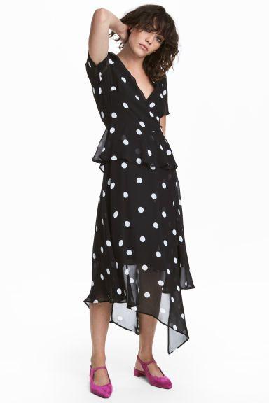 Chiffon dress - Negru/cu picăţele - FEMEI | H&M RO