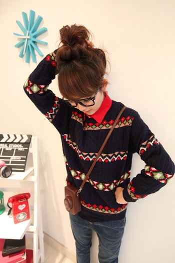 XFK2012 winter impressions about new womens fashion Korean wild peoples bar hedging twist sweater women
