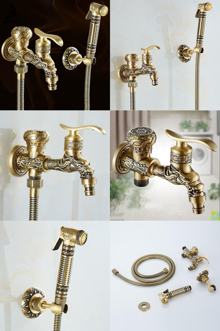 [Visit to Buy] Antique Brass Bidet Faucets Wall Mounted Bathroom Shower Toilet Washing Machine Faucet Cold Water With Hand Shower Bracket WF556 #Advertisement