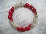 Red Porcelain Silver Twirls Bracelet