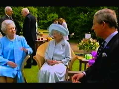 Members of the Royal Family together at Clarence House in August 2001 for the Queen Mother's 101st birthday. Queen Elizabeth The Queen Mother, Queen Elizabeth II, the Prince of Wales and Prince William are filmed chatting amongst each other.