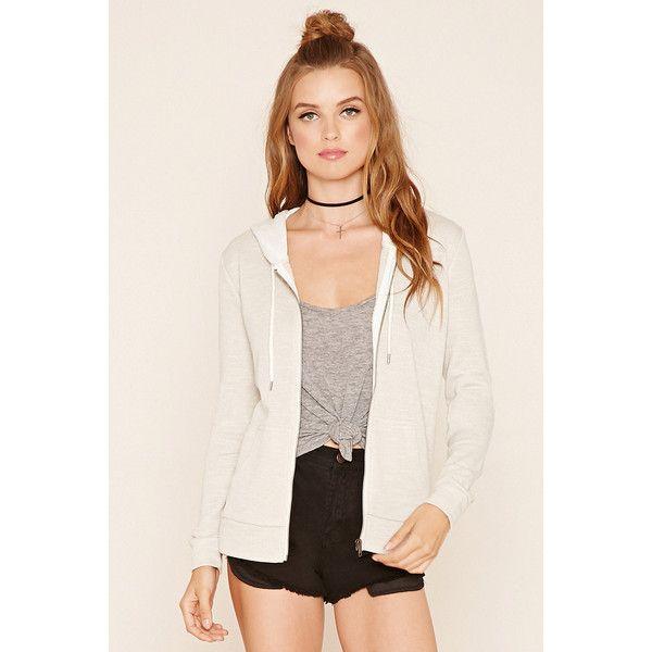 Forever21 Heathered Zip Hoodie ($15) ❤ liked on Polyvore featuring tops, hoodies, beige, zip up hoodie, lightweight zip up hoodie, zipper hoodie, pink zip hoodie and pink hoodies