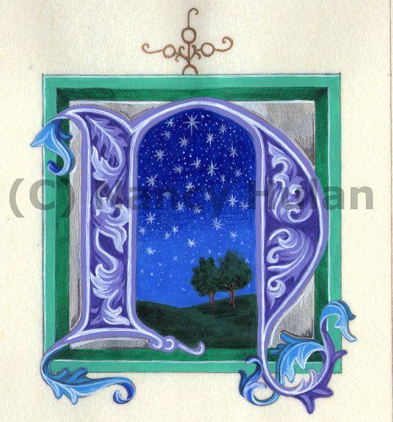 ... Art Print N   Illuminated Letters, Alphabet Letters and Alphabet
