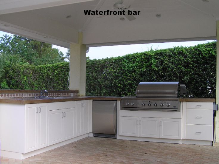 This Family Wanted An Outdoor Cabana With A Bar And Grill Along The Waterfront We Outdoor Kitchen Cabinetsoutdoor Kitchen Designoutdoor