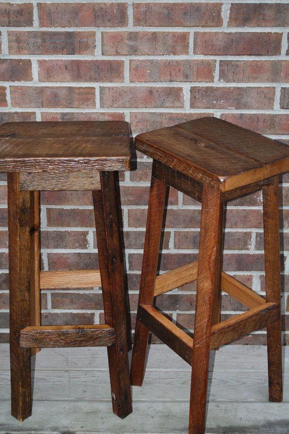 Rustic Wood Bar Stools ~ Your rustic and reclaimed rectangle oak barn wood bar