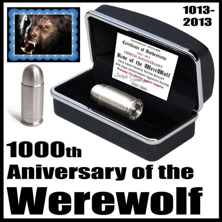 1000th Anniversary Werewolf 1oz .999 Pure Silver 45 Magnum Bullet Certified 2013
