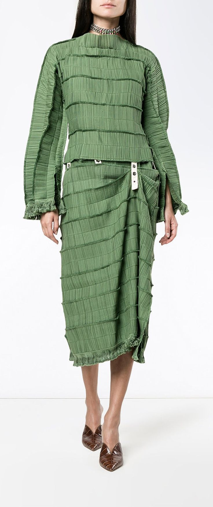 LOEWE  pleated midi dress, explore new season dresses on Farfetch.