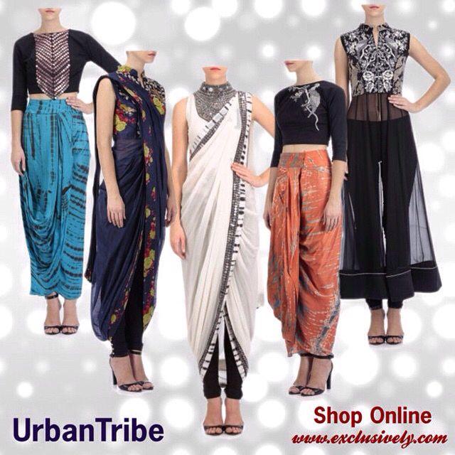 Dhoti skirts predraped saris capes and lehengas from Roshni chopra design #urbantribe