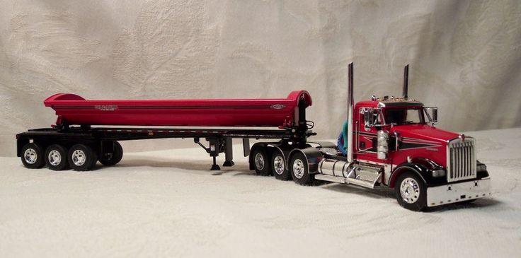 DCP 1/64 RED KENWORTH W900 TRI-AXLE + SMITHCO SIDE DUMP TRI-AXLE TRAILER #32351 #DieCastPromotions #Kenworth