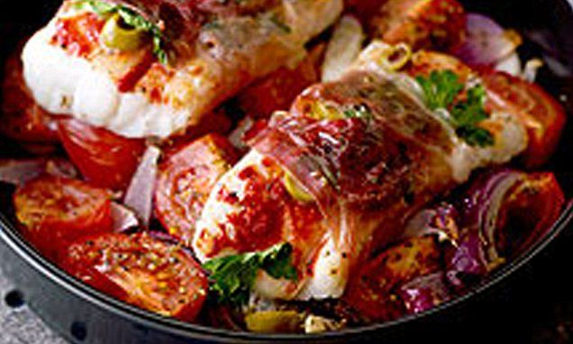 Choose cod loin or haddock fillets to make this Mediterranean-style fish dish - it's perfect for a special meal for two.
