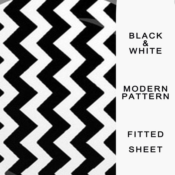 Zig Zag Fitted Sheet Black, White, Stripe Modern Print, Patterned by Monochrome   | eBay