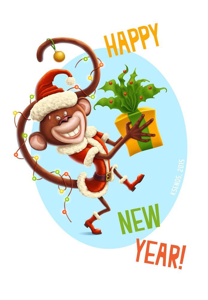 Картинки с новым годом 2016 год обезьяны, картинки