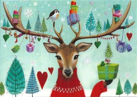 Weihnachtskarte Postkarte * Mila Marquis * Hirsch & Geschenke * Glitzer   eBay