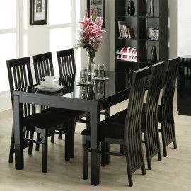 Black Lacquer Dining Table 6 Chairs I Like The Hutch Shelves Too Dream House Pinterest And Room Ideas