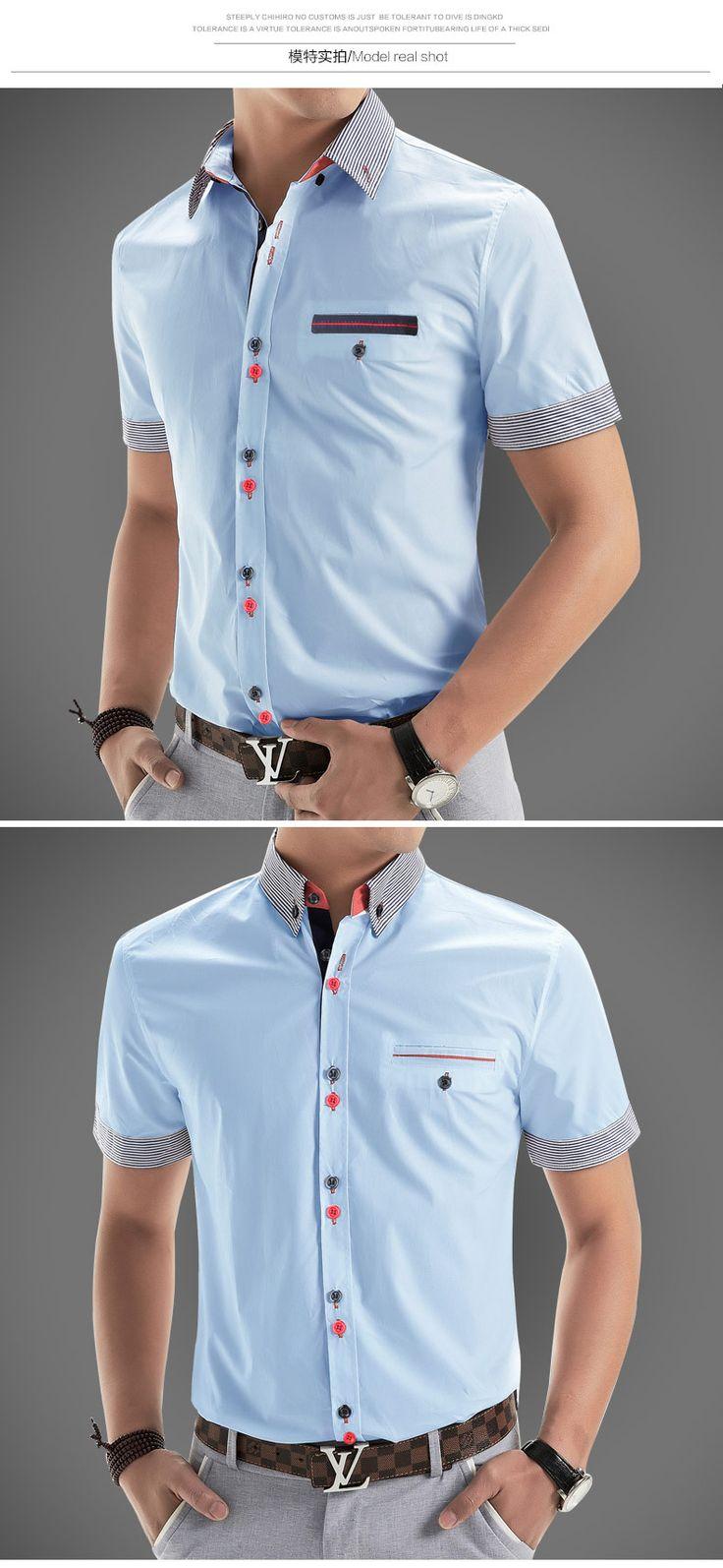 Aliexpress.com: Comprar 2016 nueva marca para hombre de manga corta para hombres Camisa Casual Slim Fit marca diseño Formal Camisa sociales chemise homme de camisa de vestir de gran cantidad fiable proveedores en God of Freedom
