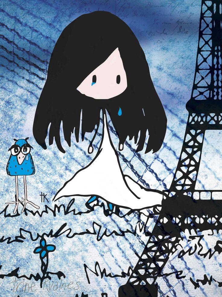 Illustration: © Trine Kvalnes  Weeping for Paris <3  Follow me at: facebook.com/bittelita