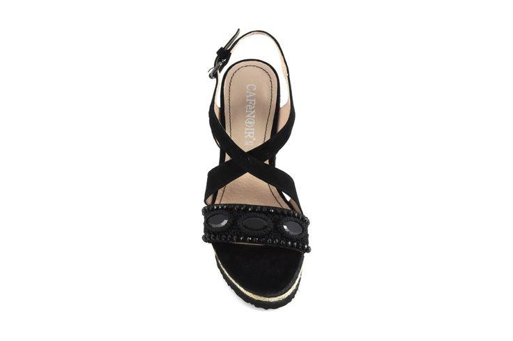 Sandali in suede con dettaglio gioiello e con zeppa in corda CafèNoir - Shoes, Bags and Accessories