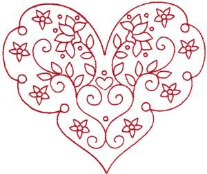 Redwork Valentine's Heart 4 (KK1403) Embroidery Design by Kinship Kreations