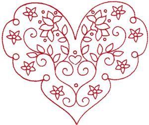 Embroidery.com: Corazón Redwork de San Valentín 4: Diseños individuales
