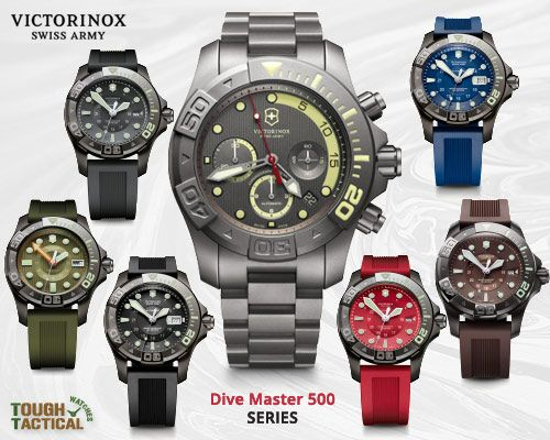 VICTORINOX SWISS ARMY DIVE MASTER 500 is available with either a self-winding, high grade mechanical movement or a precise quartz ticker (both Swiss, naturally) and a variety of dial and strap colors to match with your uniform or summer wardrobe.