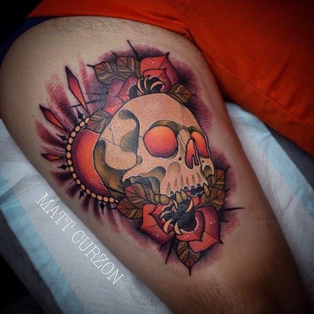 Neo Traditional Skull Tattoo by Matt Curzon #skull #skulltattoo…