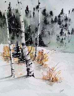 Original Watercolor Painting Early Winter Maine