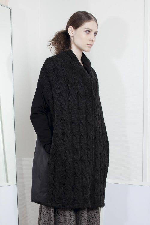 Lesel - Пальто Косичка с рукавами из тонкой шерсти