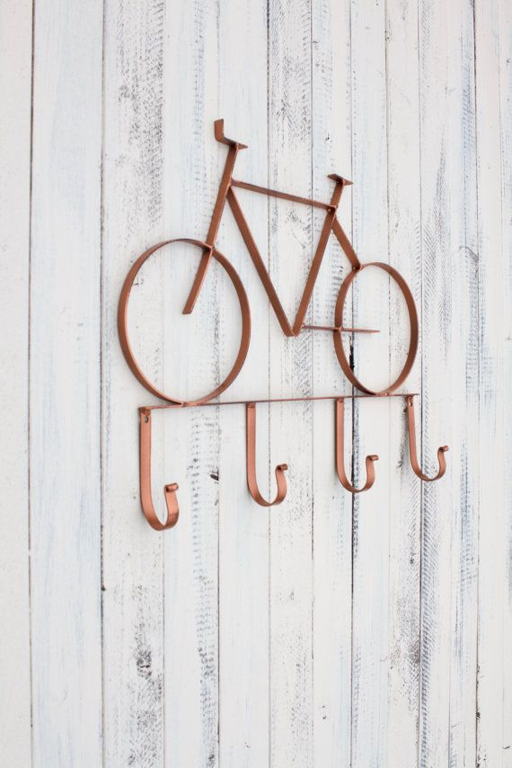 Bicycle Decor, Bicycle Art, Metal Bicycle Wall Art, Bike Hook, Decorative Wall…