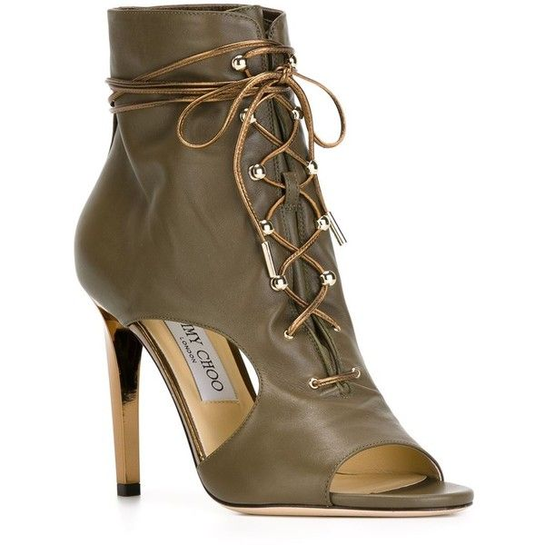 Jimmy Choo Minka Booties (6.540.020 IDR) ❤ liked on Polyvore featuring shoes, boots, ankle booties, heels, stiletto ankle booties, heeled ankle booties, jimmy choo boots, khaki boots and stiletto boots